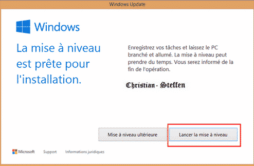 lancer mise a niveau windows 10