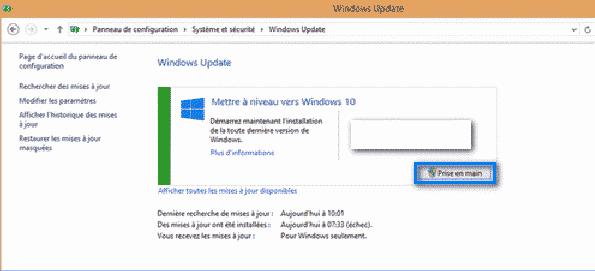 windows 10 mise a niveau