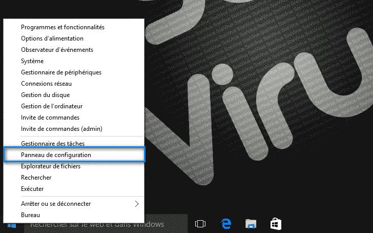 panneau de configuration Windows 10