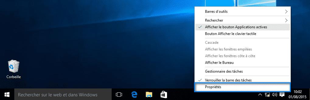 personnaliser la barre des tâches Windows 10 3