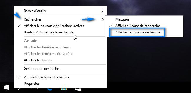 afficher zone de recherche windows 10