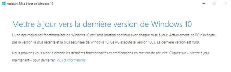 Mettre à jour Windows 10