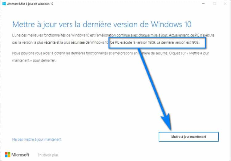 upgrade windows 10 en dernière version