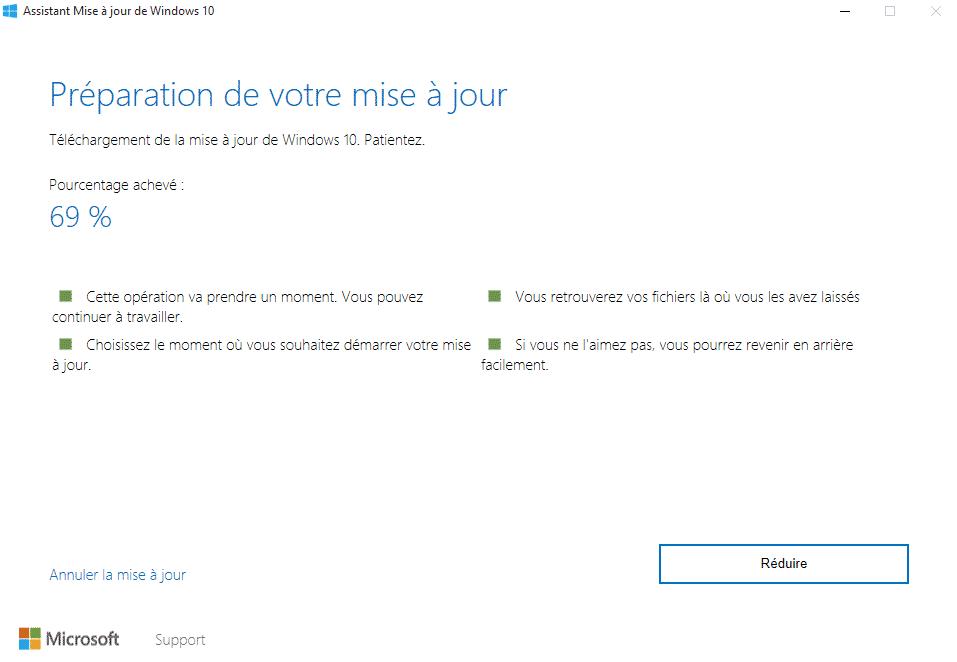 windows upgrader mise a jour en cours - Mettre à jour Windows 10 avec Windows Upgrader