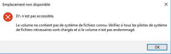 Clé USB demande formatage message erreur accès