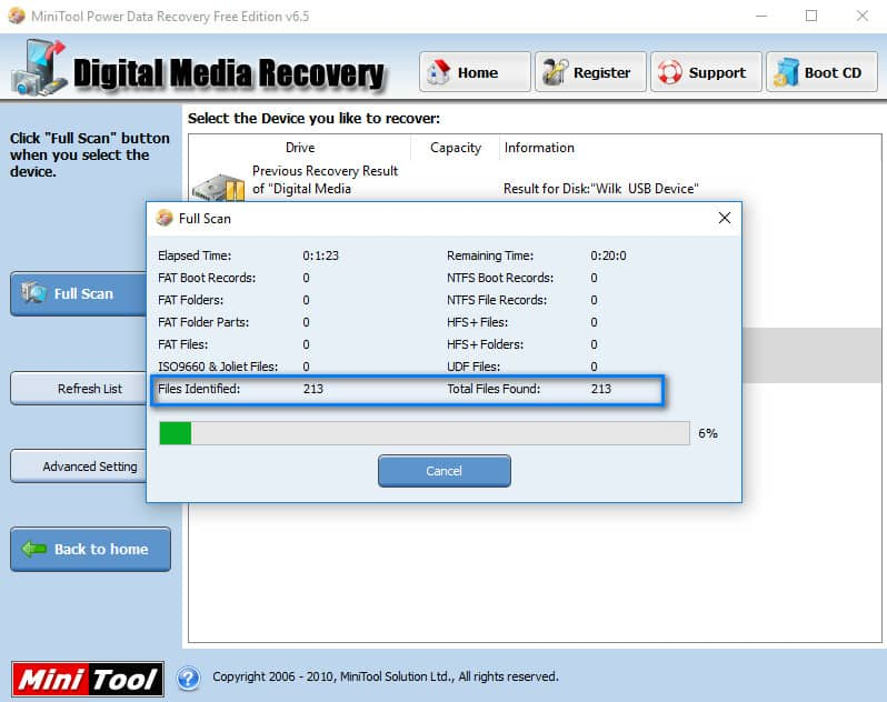 cle USB demande formatage - MiniTool Power Data Recovery 27%