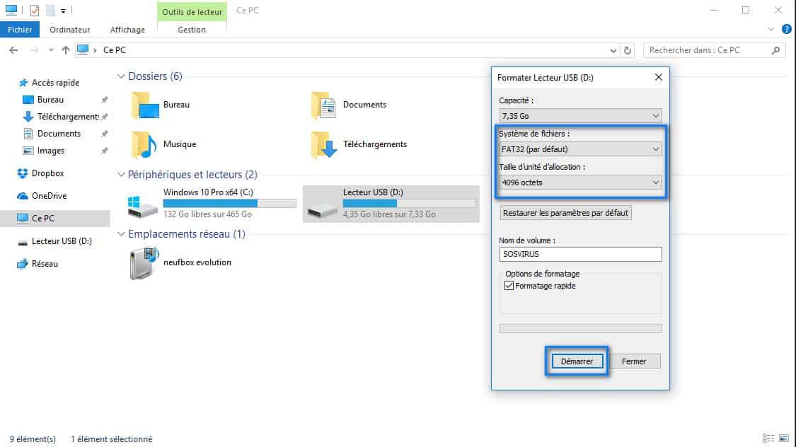 formater cle USB qui demande formatage a chaque branchement