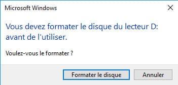message Clé USB demande formatage