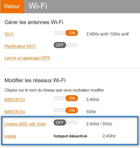 WIFI 2Ghz 5Ghz invité et hotspot livebox orange
