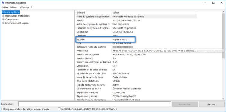 connaitre numéro modèle pc Windows 10