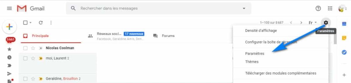 paramètres de votre messagerie Gmail