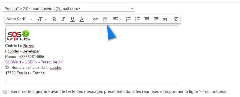 Gmail permet également d'insérer une image