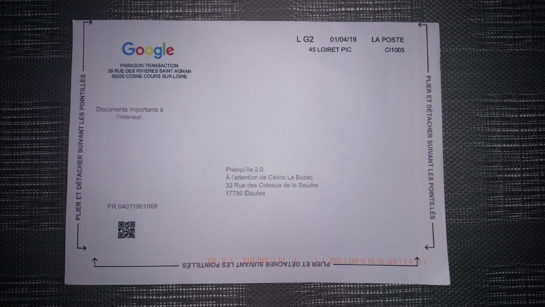 COURRIER GOOGLE MY BUSINESS - Créer une page Google My Business