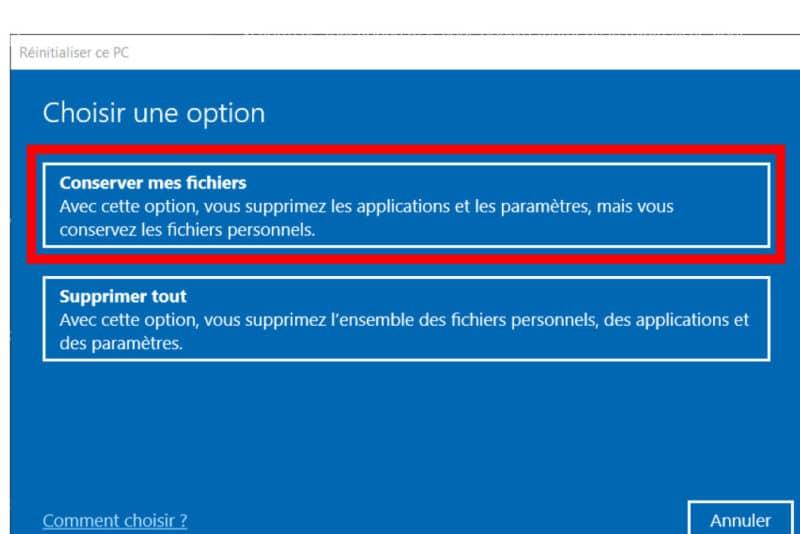 conserver fichiers réinitialisation windows 10