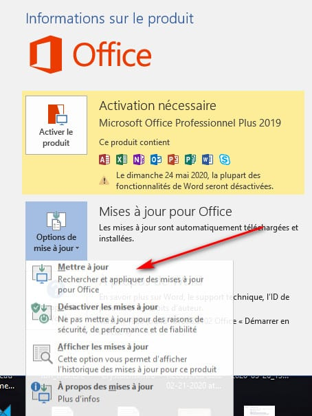 mettre a jour Office 2019