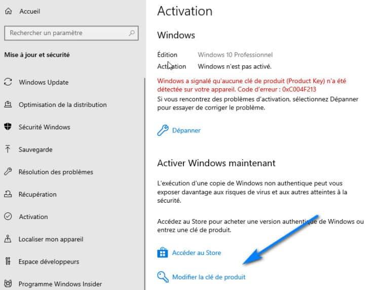 modifier la clé de produit Windows 10