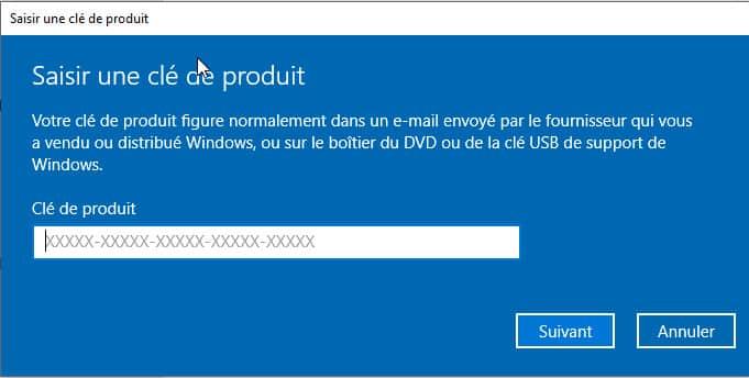 saisir clé de produit Windows 10