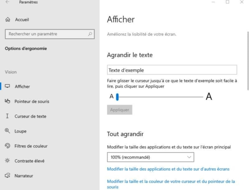 Modifier la taille du texte sur Windows 10