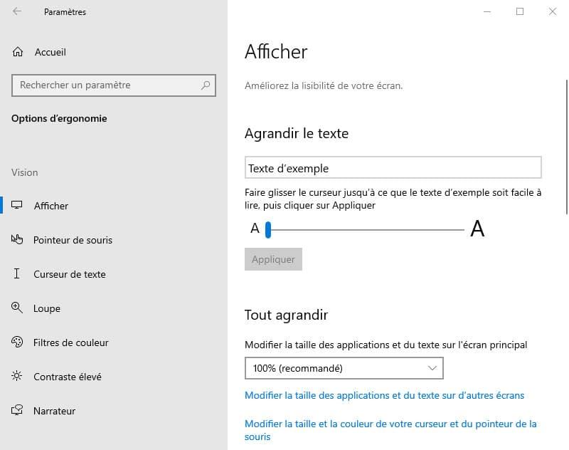 agrandir le texte Windows 10