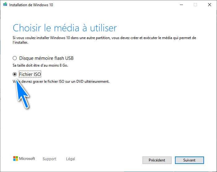 création du fichier ISO Windows 10