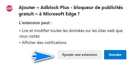 ajouter l extension adblock a edge