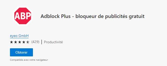 obtenir adblock Plus pour microsoft edge