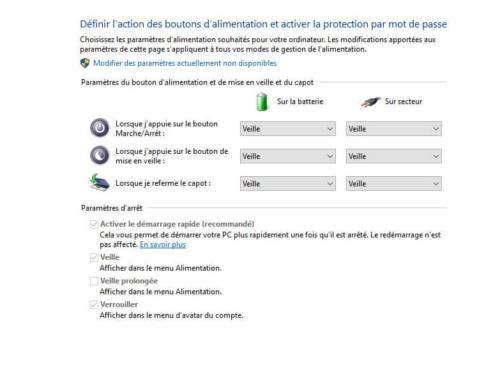 Modifier l'action après fermeture du capot dans Windows 10