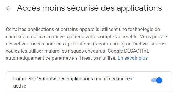 Google Paramètres autoriser les applications moins sécurisées activé