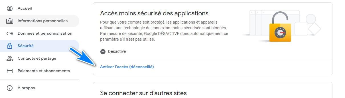 Google accès moins sécurisés des applications