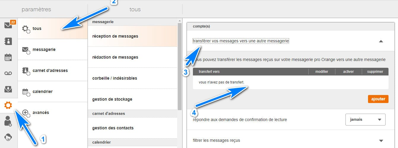 Rediriger email Orange vers une autre adresse email