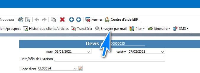Utiliser la fonction envoyer par e-maIl dans EBP