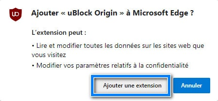 ajouter l extension ublock origin sur Microsoft Edge