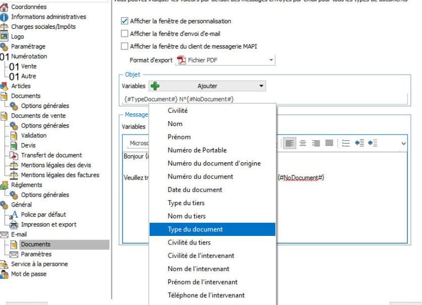 ajouter une variable dans un message EBP