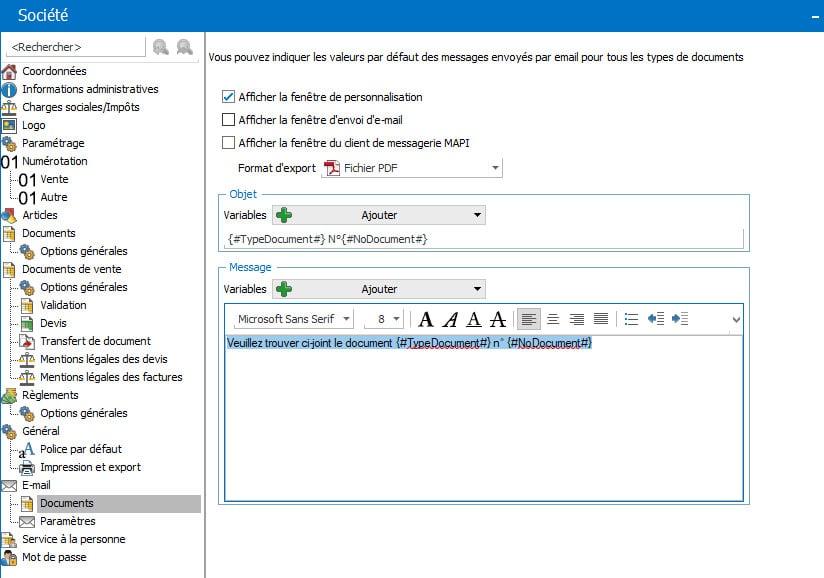 message email type dans EBP