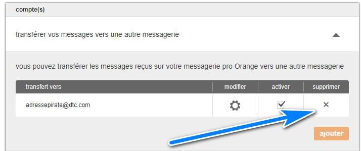 supprimer redirection email orange