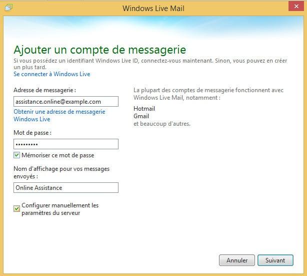 ajouter un compte de messagerie dans Windows Live Mail