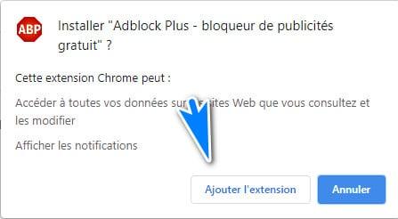 ajouter l'extension adblock plus sur Chrome