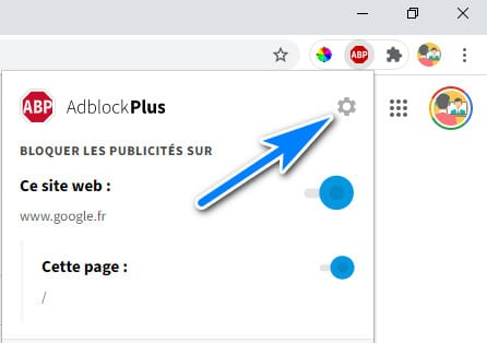 configurer adblock plus sur Google Chrome