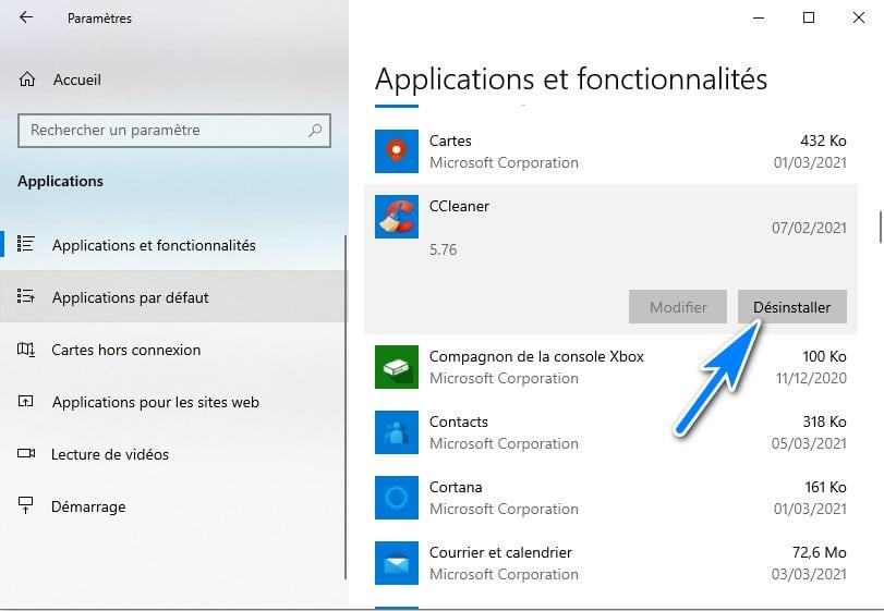désinstaller une applications sur Windows 10