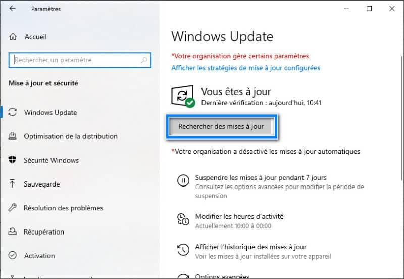 Rechercher les mises à jours Windows 11