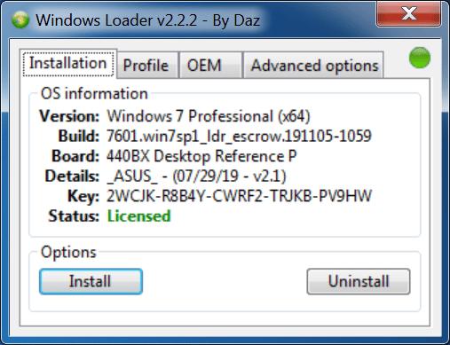 Télécharger Windows Loader 2.2.2 by Daz