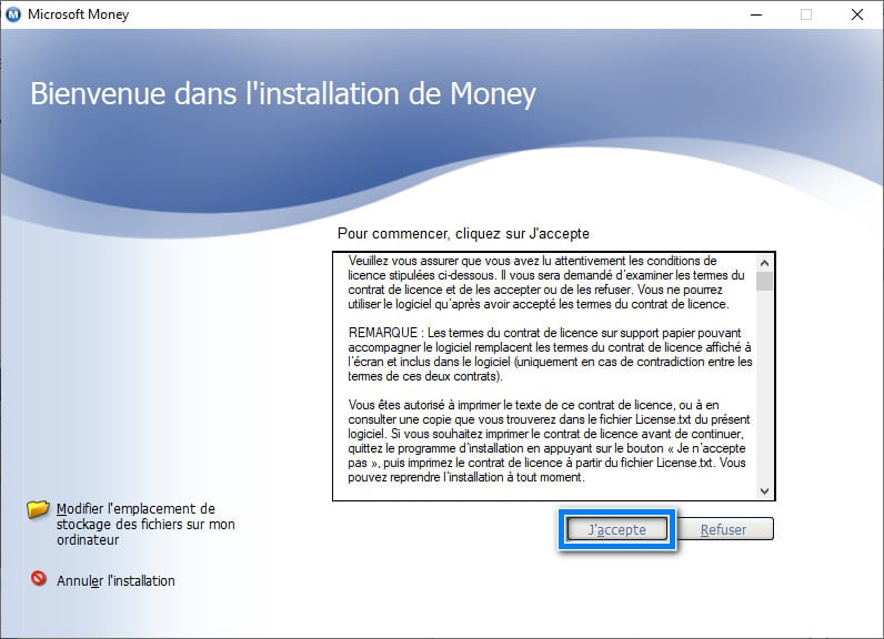 accepter licence Microsoft Money