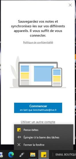 épingler le pense-bête Windows 10 à la barre des tâches