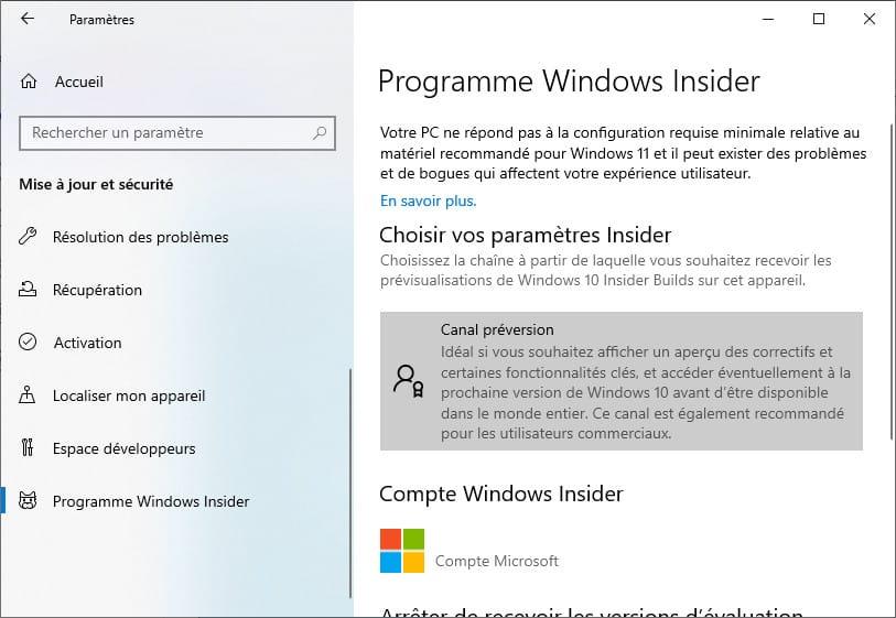 mettre Windows Insider en Canal préversion