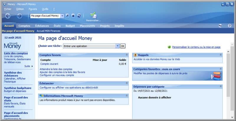 tableau de bord Microsoft Money