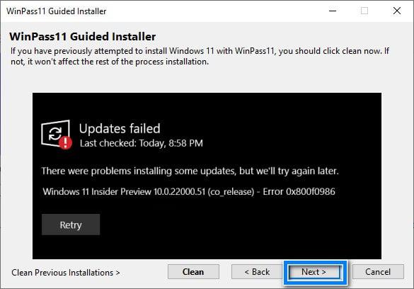 winpass11 guided installer clean