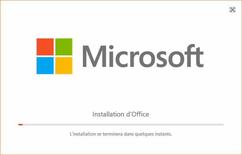 Installation de Excel 2016 en cours