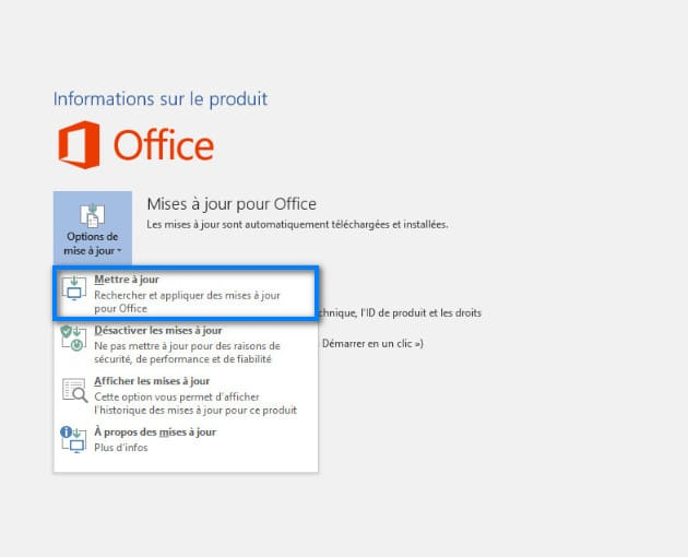 Mettre à jours Microsoft Word